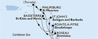 MSC Preziosa - Martinik, Guadeloupe, Panenské ostrovy (British), Sint Maarten (Dutch part), Dominika, Sv.Kryštof a Nevis, Antigua a Barbuda