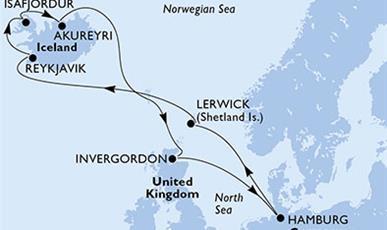MSC Meraviglia - Německo, Velká Británie, Island