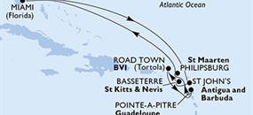 MSC Divina - USA, Antigua a Barbuda, Sv.Kryštof a Nevis, Panenské ostrovy (British), Guadeloupe, St. Maarten