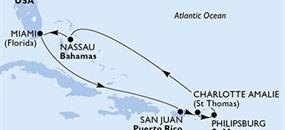 MSC Seaside - USA, Portoriko, Panenské ostrovy (U.S.), St. Maarten, Bahamy