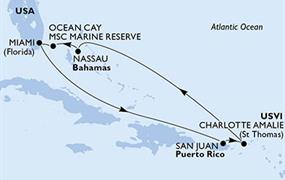 MSC Seaside - USA, Portoriko, Panenské ostrovy (U.S.), Bahamy