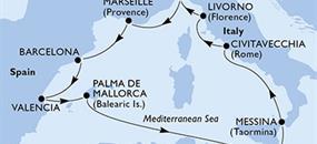 MSC Sinfonia - Španělsko, Malta, Itálie, Francie