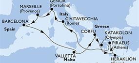 MSC Sinfonia - Itálie, Francie, Španělsko, Malta, Řecko (z Janova)