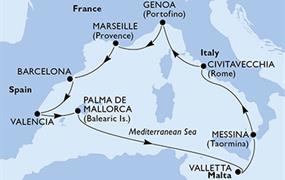 MSC Sinfonia - Itálie, Francie, Španělsko, Malta (z Civitavecchie)