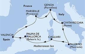 MSC Divina - Itálie, Španělsko, Francie (z Civitavecchie)