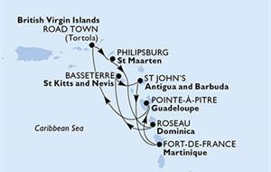 MSC Preziosa - Martinik, Guadeloupe, Panenské ostrovy (British), St. Maarten, Dominika, Sv.Kryštof a Nevis, Antigua a Barbuda (Fort-de-France)