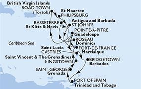 MSC Preziosa - Martinik, Guadeloupe, Panenské ostrovy (British), St. Maarten, Dominika, Sv.Kryštof a Nevis, Antigua a Barbuda, Sv.Lucie, Barbados, Trinidad a Tobago, Grenada, Saint Vincent & The Grena