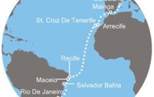 Costa Favolosa - Brazílie, Kanárské ostrovy, Španělsko (Santos)