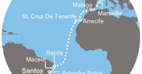 Costa Favolosa - Brazílie, Kanárské ostrovy, Španělsko, Francie, Itálie (Santos)