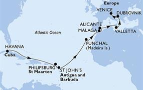 MSC Opera - Kuba, St. Maarten, Antigua a Barbuda, Portugalsko, Španělsko, Malta, Chorvatsko, Itálie (Havana)
