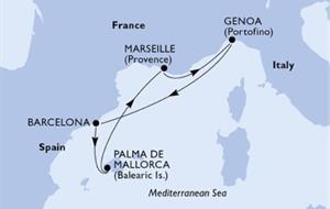 MSC Preziosa - Itálie, Španělsko, Francie (z Janova)