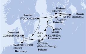 MSC Poesia - Německo, Polsko, Litva, Lotyšsko, Estonsko, Rusko, Finsko, Švédsko, Dánsko (Warnemünde)