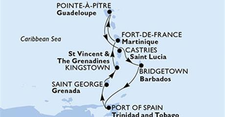 MSC Preziosa - Martinik, Guadeloupe, Sv.Lucie, Barbados, Trinidad a Tobago, Grenada, Saint Vincent & The Grenadines (Fort-de-France)