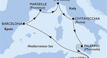 MSC Grandiosa - Španělsko, Francie, Itálie, Malta (z Barcelony)