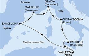 MSC Grandiosa - Itálie, Malta, Španělsko, Francie (z Civitavecchie)