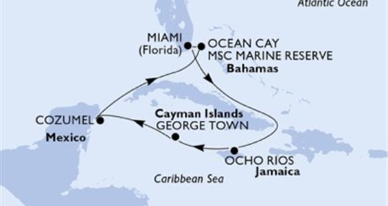 MSC Meraviglia - USA, Jamajka, Kajmanské ostrovy, Mexiko, Bahamy (z Miami)