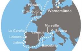 Costa Favolosa - Německo, Dánsko, Anglie, Francie, Španělsko, Portugalsko, Itálie (Warnemünde)