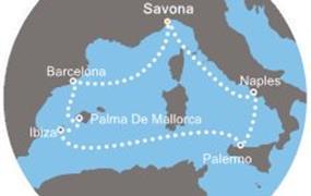 Costa Fascinosa - Itálie, Baleáry, Španělsko (ze Savony)