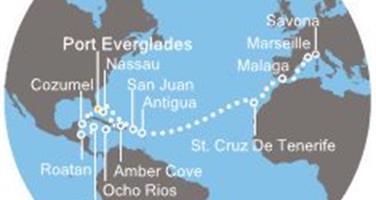 Costa Luminosa - Florida (USA), Bahamy, Jamajka, Kajmanské ostrovy, Honduras, Mexiko, Portoriko, Antily, Kanárské ostrovy, Španělsko, Francie, Itálie (Fort Lauderdale)