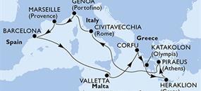 MSC Poesia - Španělsko, Malta, Řecko, Itálie, Francie (z Barcelony)