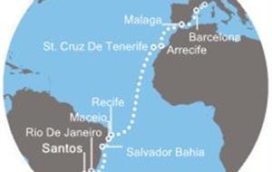 Costa Favolosa - Brazílie, Kanárské ostrovy, Španělsko, Francie (Santos)