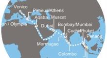 Costa Luminosa - Singapur, Malajsie, Thajsko, Srí Lanka, Indie, Arabské emiráty, Omán, Jordánsko, Řecko, Itálie (Singapur)