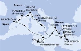 MSC Poesia - Itálie, Francie, Španělsko, Malta, Řecko (z Civitavecchie)