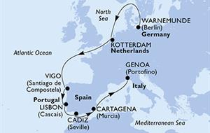 MSC Poesia - Německo, Nizozemí, Španělsko, Portugalsko, Itálie (Warnemünde)