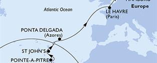 MSC Preziosa - Martinik, Guadeloupe, Antigua a Barbuda, Portugalsko, Francie, Německo (Fort-de-France)