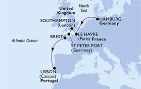 MSC Preziosa - Německo, Francie, Velká Británie, Portugalsko (Hamburk)