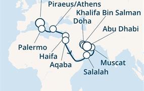 Costa Diadema - Itálie, Řecko, Jordánsko, Omán, Arabské emiráty (z Civitavecchie)