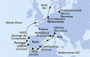MSC Poesia - Německo, Nizozemí, Španělsko, Portugalsko, Itálie, Francie (Warnemünde)