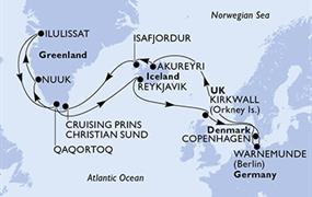 MSC Poesia - Německo, Island, Grónsko, Velká Británie, Dánsko (Warnemünde)