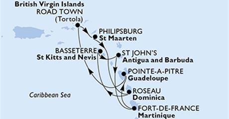 MSC Splendida - Martinik, Guadeloupe, Panenské ostrovy (British), Nizozemské Antily, Dominika, Sv.Kryštof a Nevis, Antigua a Barbuda (Fort-de-France)