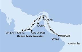 MSC Bellissima - Arabské emiráty, Omán (z Abú Dhabí)