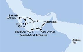 MSC Bellissima - Arabské emiráty, Bahrajn, Katar (z Abú Dhabí)