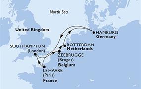 MSC Preziosa - Velká Británie, Belgie, Nizozemí, Německo, Francie (ze Southamptonu)