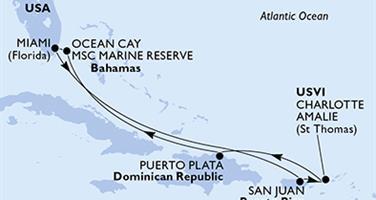 MSC Seaside - USA, Portoriko, Panenské ostrovy (U.S.), Dominikán.rep., Bahamy