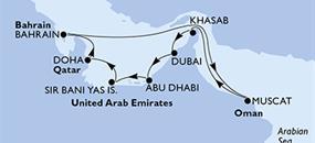 MSC Lirica - Dubaj,Dubaj,Abu Dhabí,Sir Bani Yas Is,Doha,Doha,Bahrajn,Muscat,Khasab,Dubaj,Dubaj (Dubaj)