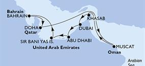 MSC Lirica - Dubaj,Dubaj,Abu Dhabí,Sir Bani Yas Is,Bahrajn,Doha,Doha,Muscat,Khasab,Dubaj,Dubaj (Dubaj)