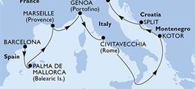 MSC Opera - Španělsko, Francie, Itálie, Černá Hora, Chorvatsko (z Barcelony)