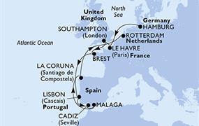 MSC Preziosa - Německo, Francie, Velká Británie, Portugalsko, Španělsko, Nizozemí (Hamburk)