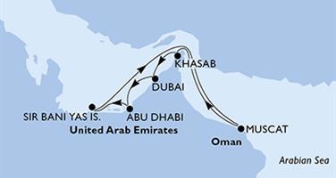 MSC Bellissima - Arabské emiráty, Omán (z Dubaje)