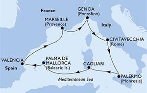 MSC Divina - Itálie, Španělsko, Francie (Cagliari)