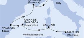 MSC Divina - Itálie, Španělsko, Francie (Palermo)