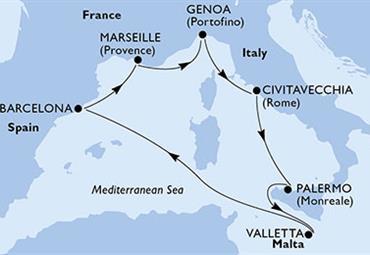 MSC Grandiosa - Itálie, Malta, Španělsko, Francie (Palermo)