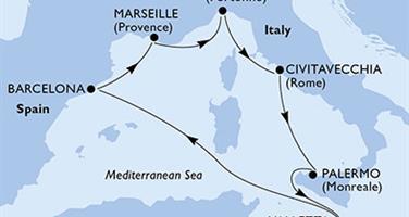 MSC Grandiosa - Francie, Itálie, Malta, Španělsko (Marseille)