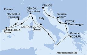 MSC Magnifica - Francie, Španělsko, Itálie, Řecko, Černá Hora, Chorvatsko (Marseille)