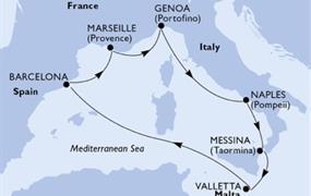 MSC Grandiosa - Itálie, Malta, Španělsko, Francie (Messina)