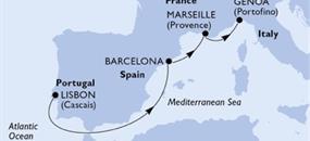 MSC Splendida - Portugalsko, Španělsko, Francie, Itálie (z Lisabonu)